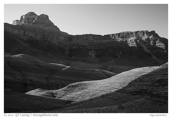 Buttes and mesas, late afternoon. Grand Canyon National Park (black and white)