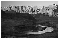 Palissades of the Desert and Colorado River. Grand Canyon National Park ( black and white)