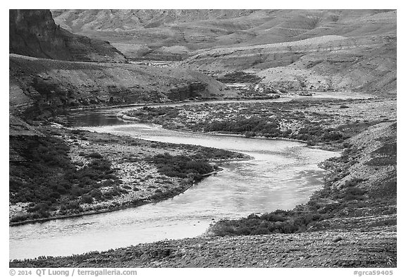 Colorado River meanders in most open part of Grand Canyon. Grand Canyon National Park (black and white)