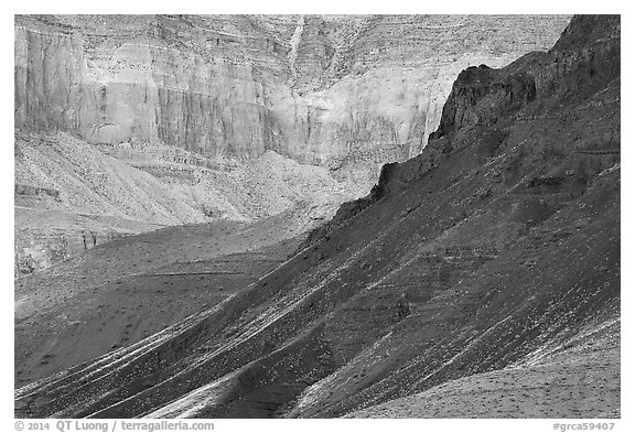 Slopes and cliffs, Escalante Butte. Grand Canyon National Park (black and white)
