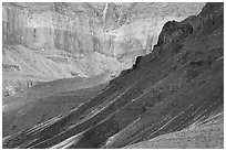 Slopes and cliffs, Escalante Butte. Grand Canyon National Park ( black and white)