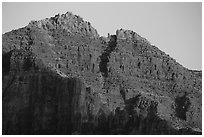 Last light illuminates distant cliffs. Grand Canyon National Park ( black and white)