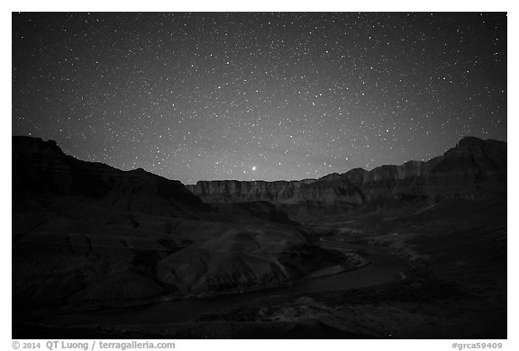 Palissades of the Desert at night. Grand Canyon National Park (black and white)