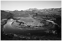 Colorado River bend at Unkar Rapids, sunrise. Grand Canyon National Park ( black and white)