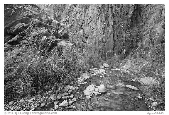 Cliffs and stream, Clear Creek. Grand Canyon National Park (black and white)