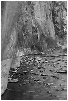 Rock walls and stream, Clear Creek gorge. Grand Canyon National Park ( black and white)
