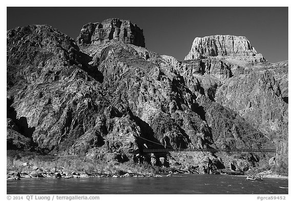 Kaibab Suspension Bridge on the Colorado River. Grand Canyon National Park (black and white)