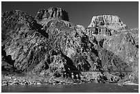 Kaibab Suspension Bridge on the Colorado River. Grand Canyon National Park ( black and white)