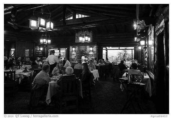 Dining room in evening, El Tovar. Grand Canyon National Park (black and white)