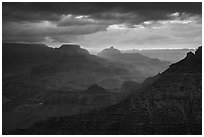 Stormy sunrise. Grand Canyon National Park ( black and white)