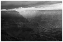 Clouds over distant rim. Grand Canyon National Park ( black and white)
