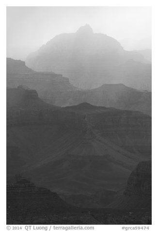Backlit canyon ridges. Grand Canyon National Park (black and white)