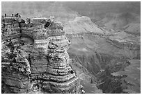 Family on Mather Point. Grand Canyon National Park ( black and white)