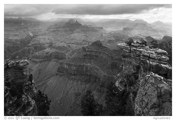 Storm clouds over Grand Canyon near Mather Point. Grand Canyon National Park (black and white)