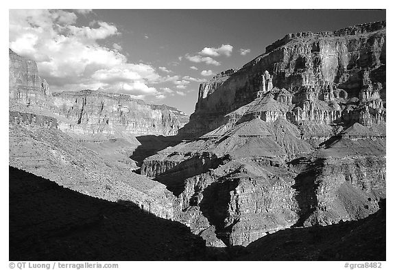 Confluence of Tapeats Creek and Thunder River. Grand Canyon National Park (black and white)