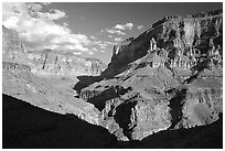 Confluence of Tapeats Creek and Thunder River. Grand Canyon National Park, Arizona, USA. (black and white)