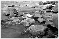 Rocks at  confluence of Tapeats Creek and  Colorado River. Grand Canyon National Park, Arizona, USA. (black and white)
