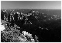 Bright Angel Point, late afternoon. Grand Canyon National Park, Arizona, USA. (black and white)
