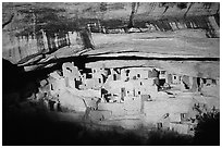 Cliff Palace, largest Anasazi cliff dwelling, afternoon. Mesa Verde National Park, Colorado, USA. (black and white)