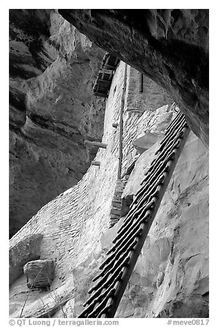 Balcony House ladder, afternoon. Mesa Verde National Park (black and white)