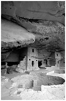 Kiva in Balcony House. Mesa Verde National Park, Colorado, USA. (black and white)