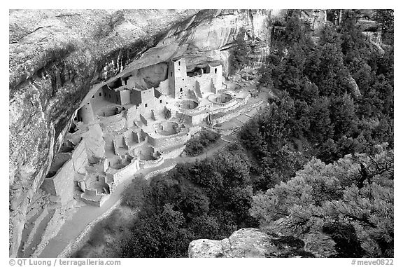 Cliff Palace from above, late afternoon. Mesa Verde National Park (black and white)