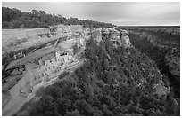 Cliff Palace and Chaplin Mesa, late afternoon. Mesa Verde National Park, Colorado, USA. (black and white)
