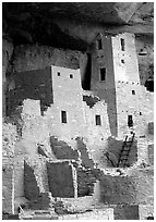 Square Tower in Cliff Palace. Mesa Verde National Park, Colorado, USA. (black and white)