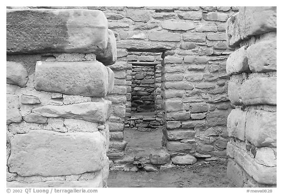 Doorways in Far View House. Mesa Verde National Park (black and white)