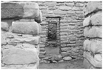 Doorways in Far View House. Mesa Verde National Park, Colorado, USA. (black and white)