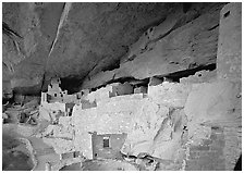 Cliff Palace Anasazi dwelling. Mesa Verde National Park, Colorado, USA. (black and white)