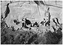 Square Tower house, tallest Anasazi ruin, afternoon. Mesa Verde National Park ( black and white)