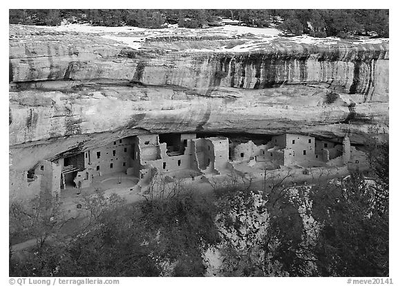 Spruce Tree house and alcove in winter. Mesa Verde National Park (black and white)