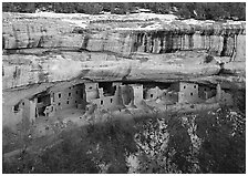 Spruce Tree house and alcove in winter. Mesa Verde National Park, Colorado, USA. (black and white)