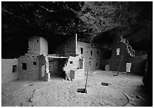 Spruce Tree house. Mesa Verde National Park, Colorado, USA. (black and white)