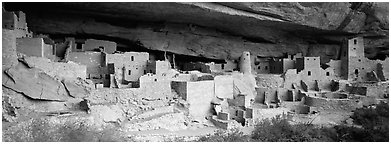 Cliff Palace, largest cliff dwelling in North America. Mesa Verde National Park (Panoramic black and white)
