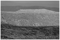 Layers of hills with autumn foliage. Mesa Verde National Park, Colorado, USA. (black and white)