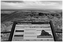 Grandest View sign. Mesa Verde National Park, Colorado, USA. (black and white)