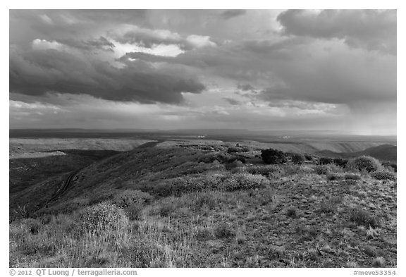 Expansive view from Park Point. Mesa Verde National Park (black and white)