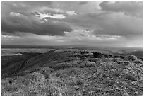 Expansive view from Park Point. Mesa Verde National Park, Colorado, USA. (black and white)
