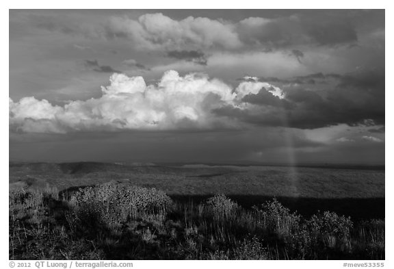 Rainbow and thunderstorm clouds over mesa. Mesa Verde National Park (black and white)
