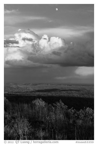 Moon, thunderstorm cloud over mesas at sunset. Mesa Verde National Park (black and white)