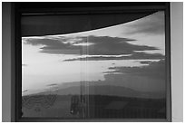 Mesa at sunset, Far View visitor center window reflexion. Mesa Verde National Park, Colorado, USA. (black and white)