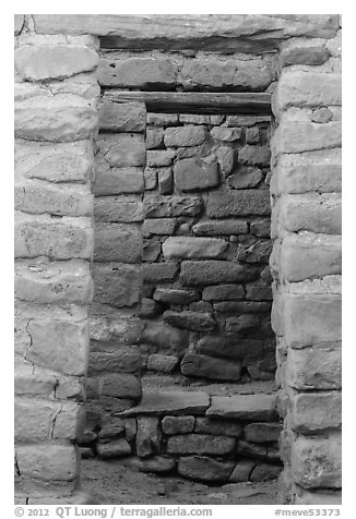 Aligned doors, Far View House. Mesa Verde National Park (black and white)