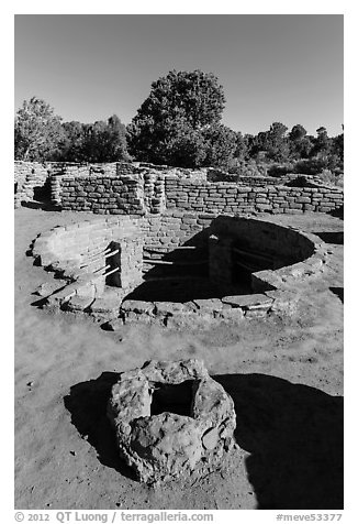 Oven and kiva, Coyote Village. Mesa Verde National Park (black and white)