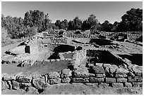 Ancestral Puebloan village with multiple rooms and kivas. Mesa Verde National Park, Colorado, USA. (black and white)