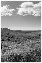 Clouds and landscape with fall colors. Mesa Verde National Park, Colorado, USA. (black and white)