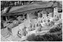 Cliff Palace sheltered by rock overhang. Mesa Verde National Park, Colorado, USA. (black and white)