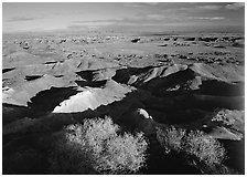 Ridges over badlands of Painted Desert, morning. Petrified Forest National Park ( black and white)
