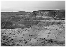 Badlands at sunset, Painted Desert. Petrified Forest National Park, Arizona, USA. (black and white)